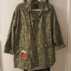 Camo jacket Snoopy Woodstock Zara limited L
